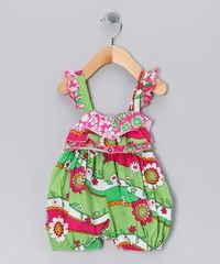 Take a look at this Mint Garden Ruffle Bubble Romper - Infant by Corky's Kids on #zulily today!