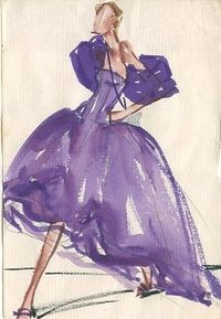 vintage fashion illustration, Balenciaga 1955