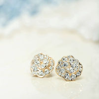 Bridal Stud Earrings  Rose Bridal Stud Earrings with rhinestone accents feature these glamorous earrings, Crafted of 14k gold plating,these Rhinestone Rose Bridal Stud Earrings will surely wow everyone in sight.