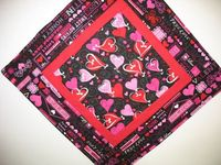 Valentine Table Topper Hearts Quilted by PicketFenceFabric, $15.00