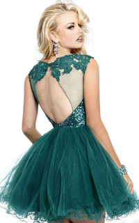 Emerald Beaded Lace Short Tiered Dress With Open Back