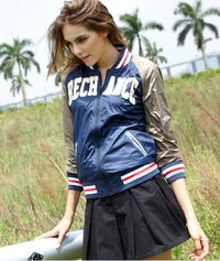 Letter BECH ANCE Girls Colorblocked Baseball Jacket