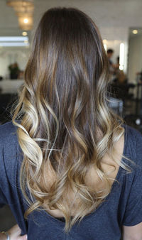 brown hair with caramel highlights.