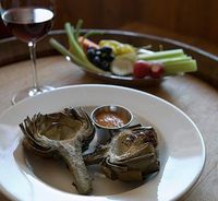 Grilled Artichockes with Spicy Smoked Tomato Mayonnaise Compliments of Frank Ostini, Chef/Owner/Winemaker of Hitching Post Restaurant & Winery