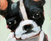 Cute - boston terrier open edition print by angela moulton 6 x 6 inch