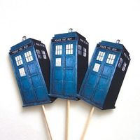 Premier party maybe? Dr Who Tardis Cupcake Toppers Set of 12 Picks by TheBlissfulBaker, $8.00