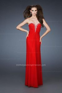 Open Back Strapless V-Neck Chiffon Red Homecoming Dresses for Cheap