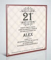 Checked 21st Birthday Square Invitation