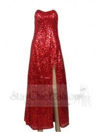 Sexy Red Side Slit Full Sequin Long Prom Eveing Dress