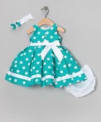 Take a look at this Green Giant Polka Dot Dress Set - Infant by Shanil on #zulily today!