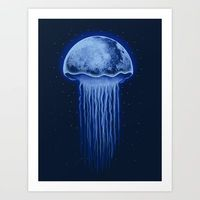 Moon Jellyfish Art Print by Fathi - $16.00
