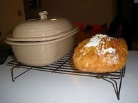 Amazing easy artisan bread made in Pampered Chef deep dish covered baker.