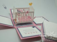 Stampin' Up! Stamping T! Crib Explosion Box Girl Open