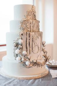 Silver and white wedding cake with a hand-painted birch tree forest and two sets of footprints in the snow - perfect for a winter theme