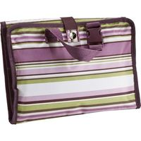 This handy cosmetic bag is great for traveling! It features an exterior handle and buckle, so it's easy to hang on a wall for easy access. Or just keep it at home to store all your necessities! It comes with three interior clear PVC zipper pockets a...
