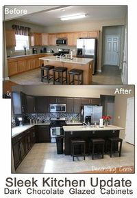 Great Sleek Dark Chocolate Kitchen! LOVE this transformation!