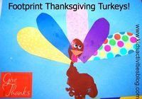 Thanksgiving Crafts: {Foot Print} Turkey- Why not do a �€œplay�€ on the traditional hand print turkeys; make a foot print turkey!