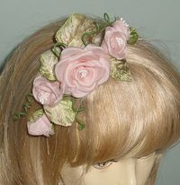 Hand Pressed Pink Organza Flower Comb with Vintage Leaves