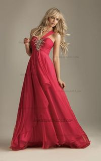 Empire Deep One-shoulder Chiffon Watermelon Prom Dresses