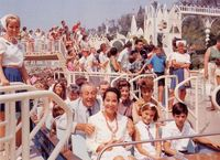 Walt Disney riding It's a SmallWorld on opening day, May 28, 1966.