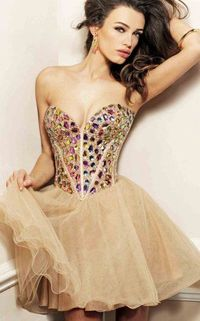 Glittering Strapless Corset Top Organza Layered Nude Homecoming Dress