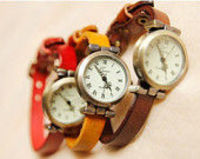 6 Colors Wrist Watch Concise Retro style leather Watch,Leather Watch Bracelet, Wrist Table Watch Retro Style W