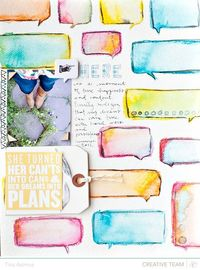 Love the idea to combine watercolor crayons and masks!
