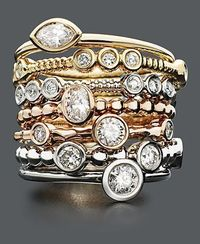 Diamond Rings, 14k Gold, 14k White Gold and 14k Rose Gold Stackable Diamond