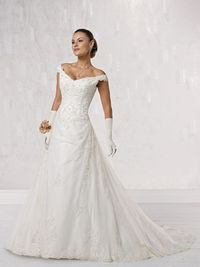 A-line tulle bridal gown with natural waist