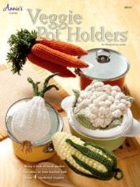 Veggie Pot Holders Crochet Pattern from Anniescatalog.com -- These decorative crochet potholders are a fun way to add a fresh garden touch to your kitchen! Makes a great gift!