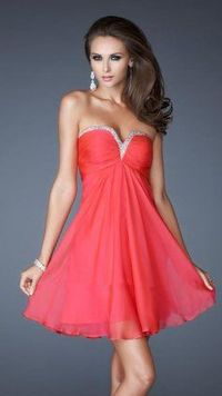Short Red Chiffon Strapless Homecoming Dresses 2013