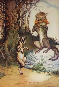 Vintage Aesop's Fables 1919 Childrens Illustration- The Wolf and The Goat Kid. $10.00, via Etsy.