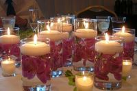 floating candles with flowers. Kind of fun?