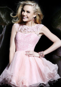 Pink Embellished Top Cheap Short Lace Homecoming Dress