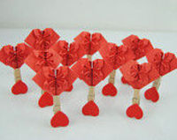 Handmade paper heart, set of 10pcs Paper Heart origami heart,Red paper heart with wood tongs , Girls Bedroom