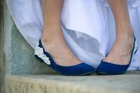 Blue Wedding Flats, Wedding Shoes with Ivory Lace Design. Available ETSY