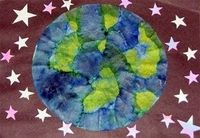 Coffee Filter Earth (can add streaks of gold tempera for more starry effect)