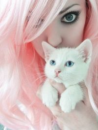 Cat White and Pink Hair