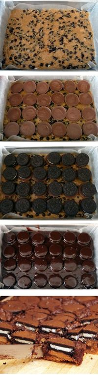 Chocolate chip cookie dough Peanut butter cup Oreo brownies.