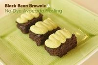 "Black Bean Brownies and Dye-free Green Frosting - looks tasty but disappointed to find it on a ""super healthy"" blog"