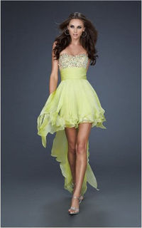 La Femme 17687 Yellow High-Low Sparkly Homecoming Dress Hot On Sale