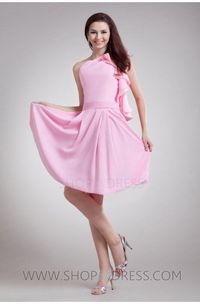A-line One Shoulder Knee Length Elastic silk-like satin Pink Cocktail Dress with Cascading-Ruffle
