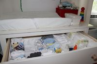 Changing table organization idea for the #nursery, I could totally make these!