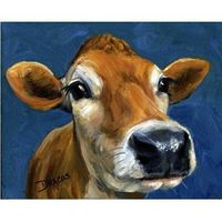 So very cute! Jersey Cow Farm Animal Art 8x10 Print of Original by DottieDracos, $12.00