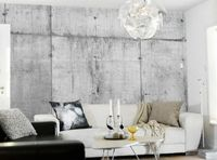 concrete wallpaper - white couch