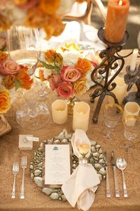 IF I WOULD DO ANY FALL COLORS table setting with orange, champagne and tan flowers and candles - wedding decor inspiration shoot - wedding invitation designed by Zenadia Designs