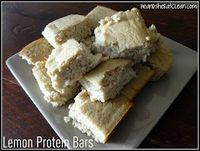 Lemon Protein bars Jamie Eason has suggested another variation of this recipe. She suggested to take out 1/2 the applesauce (baby food) & add fat free cottage cheese instead & also use all quick oats instead of oat flour.