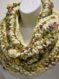 SOLD The latest item off my knitting needles. Love this Infinity Scarf. A continuous loop of soft, yummy yarn, with a bit of bling! $42.00