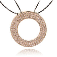 This round circle necklace features a torus shaped pendant micro paved with three rows shinning rhinestones.Crafted in 10k gold,this chic medallion rhinestones pendant necklace suspends from two trace black hue mixed gold tone chains securing with a lobst...