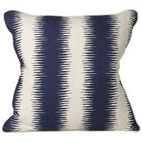 Square Blue and Beige Stripe Throw Pillow